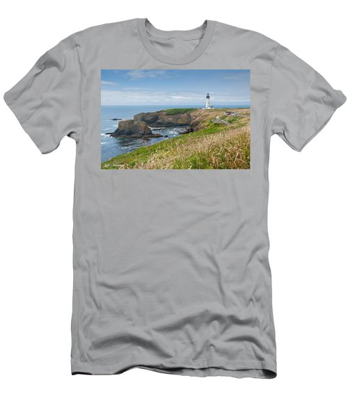 Yaquina Head Lighthouse Men's T-Shirt (Slim Fit) by Jeff Goulden