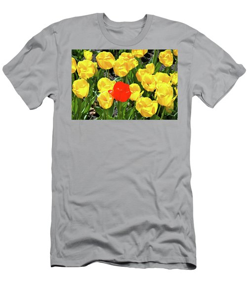 Yellow And One Red Tulip Men's T-Shirt (Athletic Fit)