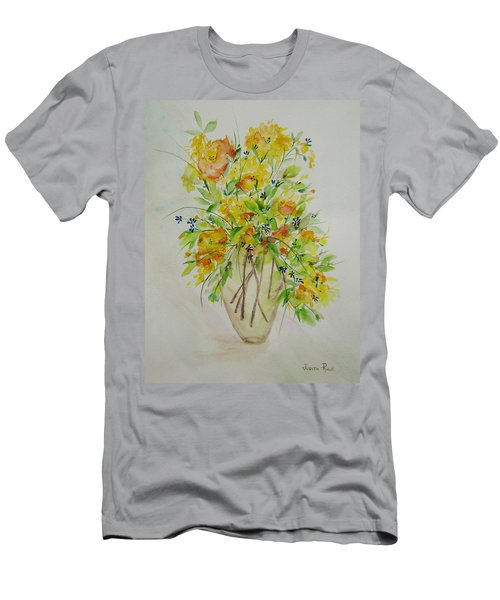 Yellow Flowers Men's T-Shirt (Slim Fit) by Judith Rhue