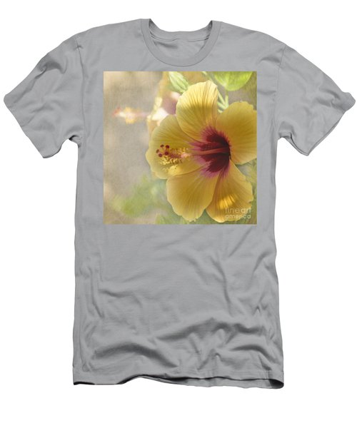 Men's T-Shirt (Slim Fit) featuring the photograph Yellow Hibiscus by Peggy Hughes