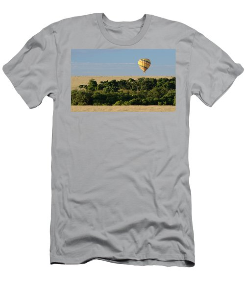 Men's T-Shirt (Slim Fit) featuring the photograph Yellow Hot Air Balloon Masai Mara by Tom Wurl