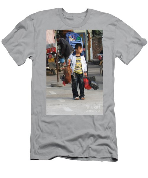 Young Boy Carrying A Dead Chicken To School Men's T-Shirt (Athletic Fit)
