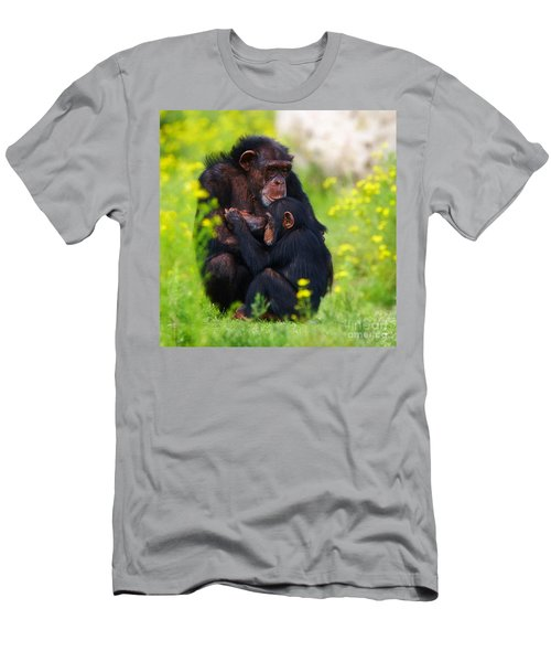 Young Chimpanzee With Adult - II Men's T-Shirt (Athletic Fit)