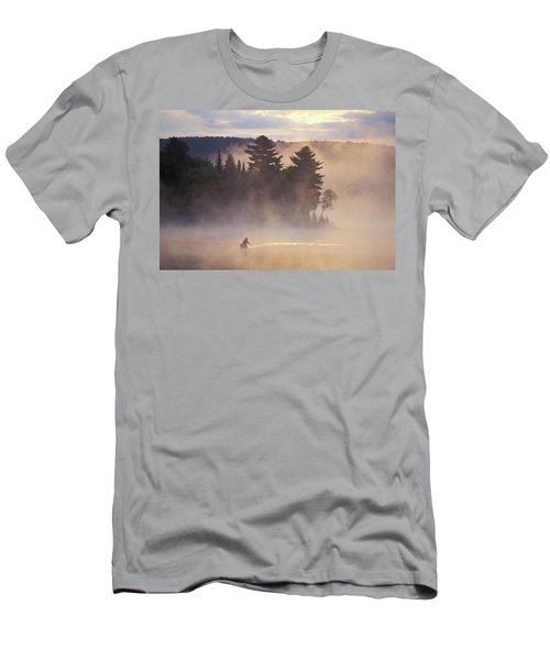 Young Man Paddle Canoe On Misty Lake Men's T-Shirt (Athletic Fit)
