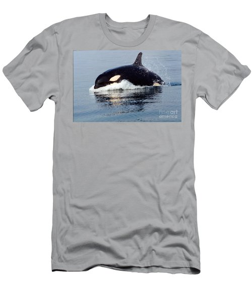 Men's T-Shirt (Slim Fit) featuring the photograph Young Orca Off The San Juan Islands Washington 1986 by California Views Mr Pat Hathaway Archives