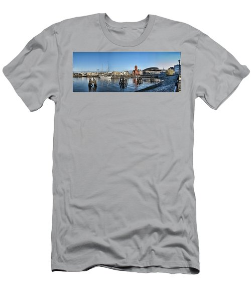 Cardiff Bay Panorama Men's T-Shirt (Slim Fit) by Steve Purnell