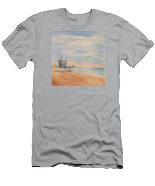 Morning By The Beach Men's T-Shirt (Slim Fit) by Debbie Lewis