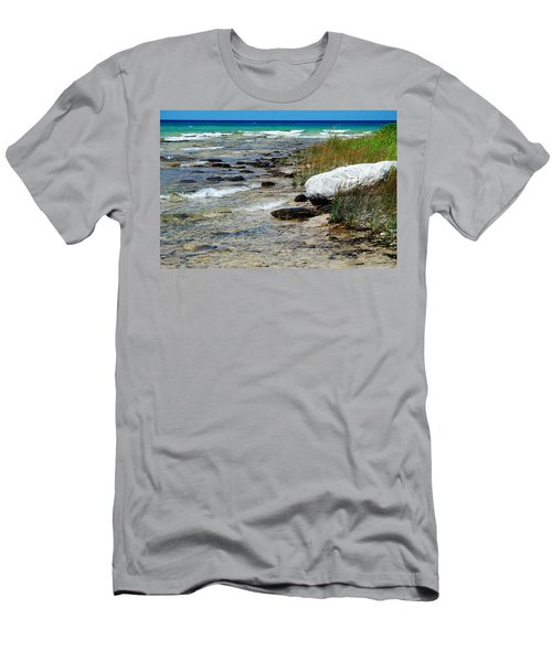 Quiet Waves Along The Shore Men's T-Shirt (Slim Fit) by Janice Adomeit
