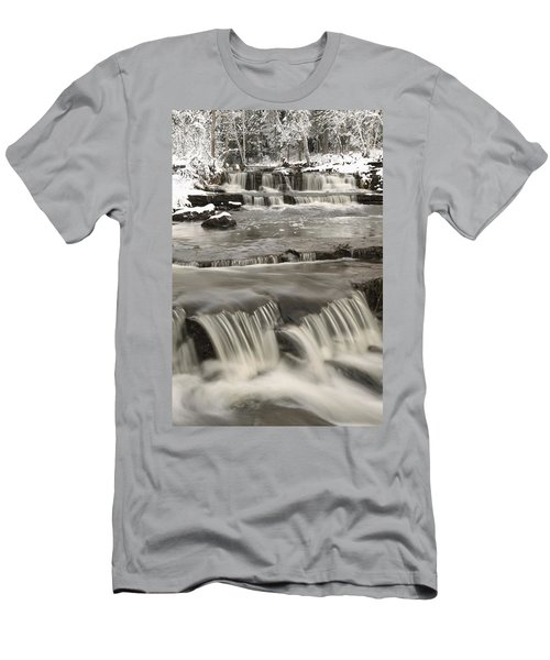 Waterfalls With Fresh Snow Thunder Bay Men's T-Shirt (Athletic Fit)