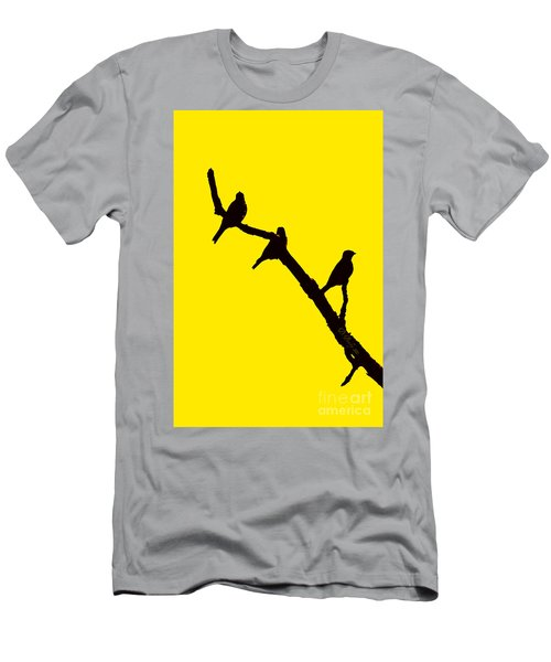 Men's T-Shirt (Athletic Fit) featuring the photograph 3 Birds On A Limb by Donna Bentley