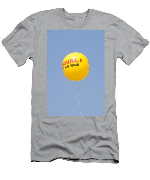 Men's T-Shirt (Slim Fit) featuring the photograph A Hot Air Balloon In The Blue Sky by Ashish Agarwal