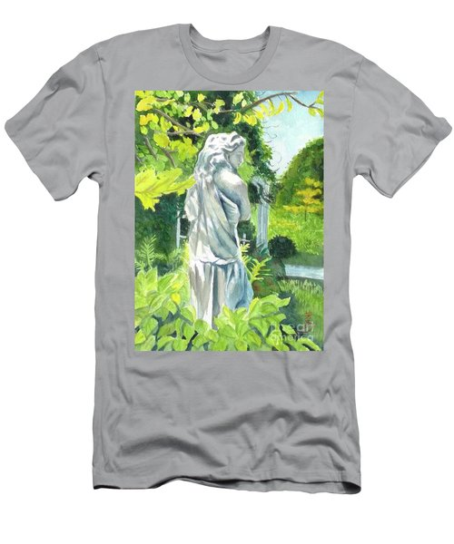Men's T-Shirt (Slim Fit) featuring the painting A Statue At The Wellers Carriage House -3 by Yoshiko Mishina