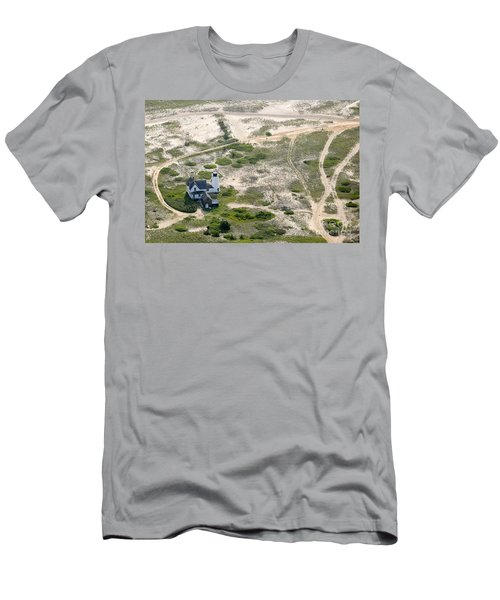 Aerial View Of Stage Harbor Light In Chatham On Cape Cod Massac Men's T-Shirt (Athletic Fit)