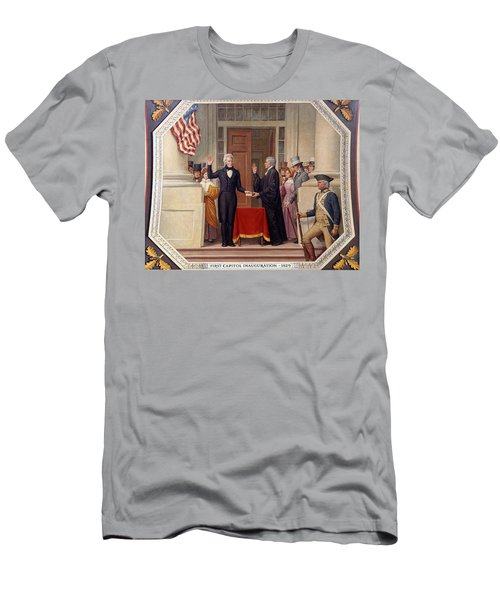 Men's T-Shirt (Slim Fit) featuring the photograph Andrew Jackson At The First Capitol Inauguration - C 1829 by International  Images