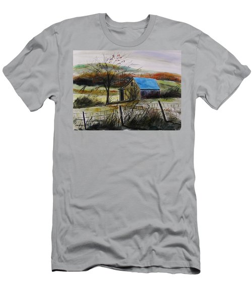 Men's T-Shirt (Slim Fit) featuring the painting Autumn Light By John Williams by John Williams