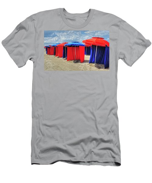 Men's T-Shirt (Slim Fit) featuring the photograph Beach Umbrellas Nice France by Dave Mills