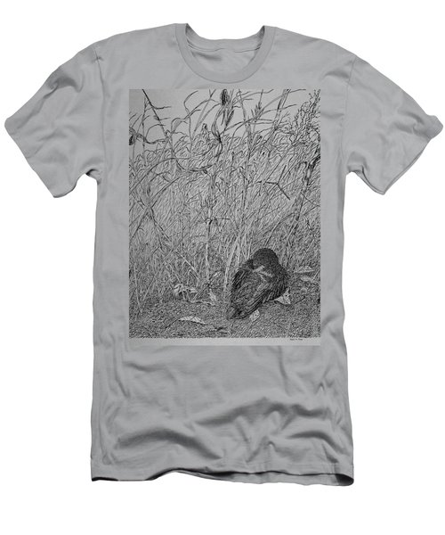 Bird In Winter Men's T-Shirt (Slim Fit) by Daniel Reed