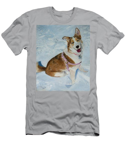 Blue - Siberian Husky Dog Painting Men's T-Shirt (Athletic Fit)
