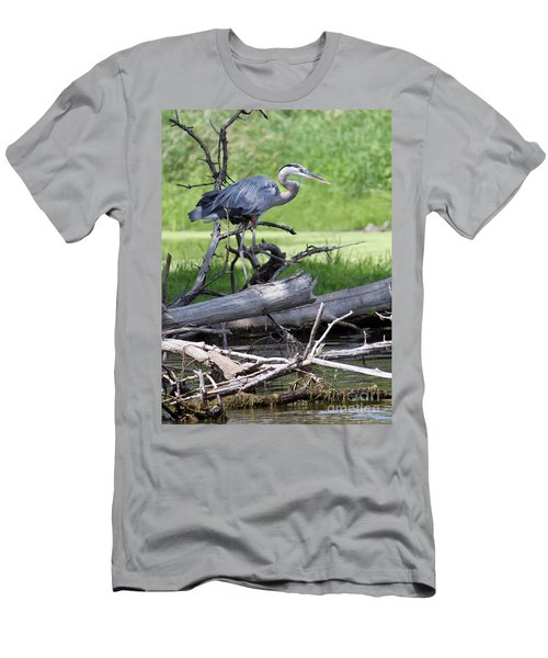 Blue Heron At The Lake Men's T-Shirt (Slim Fit) by Debbie Hart