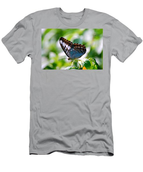 Men's T-Shirt (Slim Fit) featuring the photograph Bright Blue Butterfly by Peggy Franz