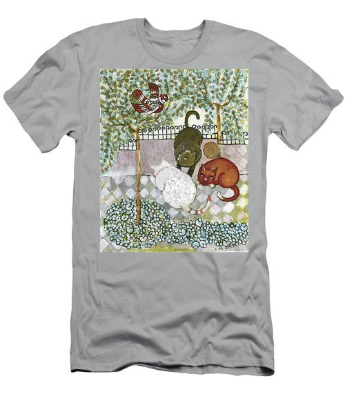 Brown And White Alley Cats Consider Catching A Bird In The Green Garden Men's T-Shirt (Slim Fit) by Rachel Hershkovitz