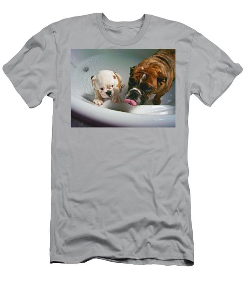 Men's T-Shirt (Slim Fit) featuring the photograph Bulldog Bath Time II by Jeanette C Landstrom