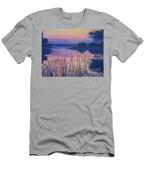 Men's T-Shirt (Slim Fit) featuring the painting Chincoteaque Island Sunset by Julie Brugh Riffey