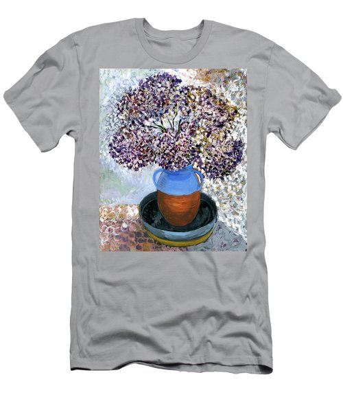 Colorful Impression Of Purple Flowers In Blue Brown Ceramic Vase Yellow Plate With Green Branches  Men's T-Shirt (Slim Fit) by Rachel Hershkovitz