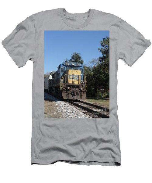 Men's T-Shirt (Slim Fit) featuring the photograph Coming Down The Track by Donna Brown
