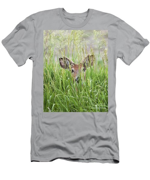 Deer In Hiding Men's T-Shirt (Slim Fit) by Art Whitton