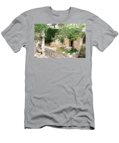 Men's T-Shirt (Athletic Fit) featuring the photograph Do-00486 Old House From Citadel by Digital Oil