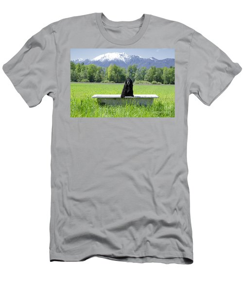 Dog In Bathtub Men's T-Shirt (Athletic Fit)