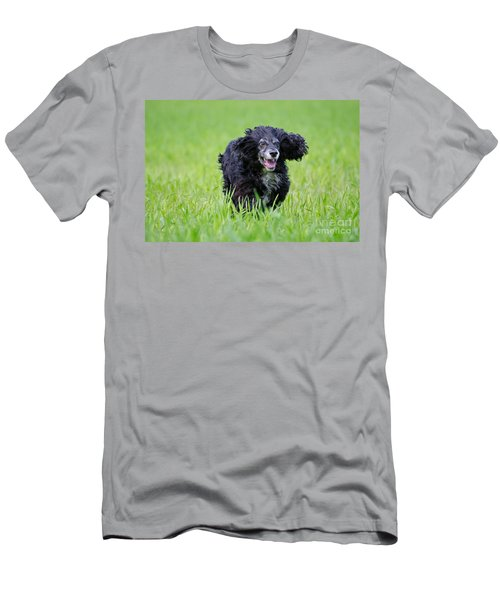 Dog Running On The Green Field Men's T-Shirt (Athletic Fit)