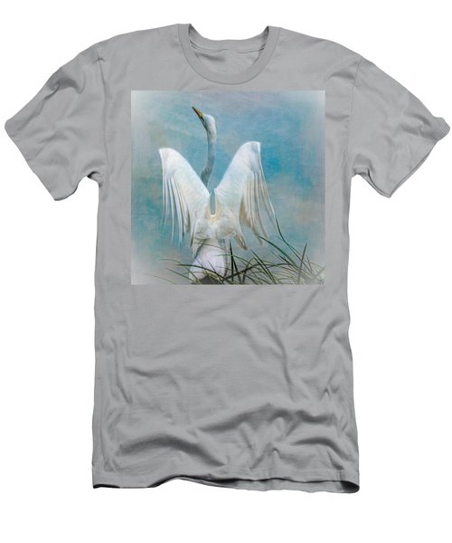 Men's T-Shirt (Athletic Fit) featuring the photograph Egret Preparing To Launch by Chris Lord