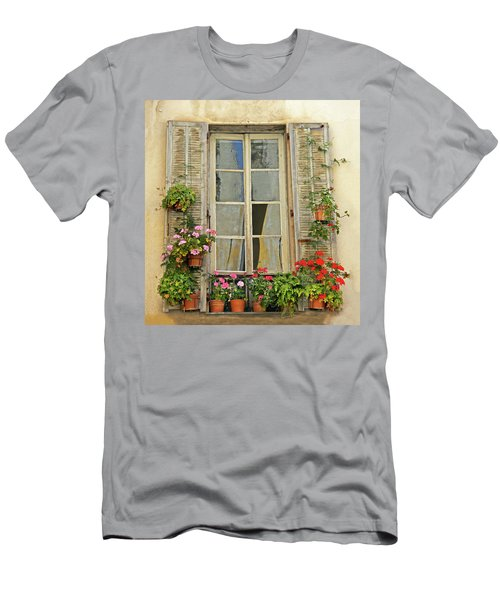 Men's T-Shirt (Slim Fit) featuring the photograph Flower Window Provence France by Dave Mills
