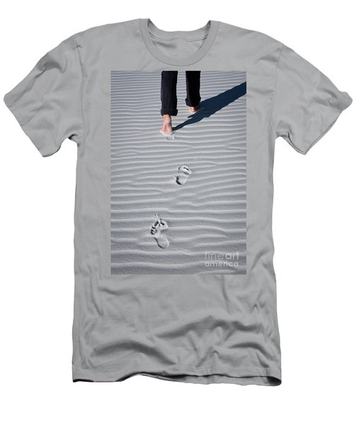 Footprint On White Sand Men's T-Shirt (Athletic Fit)