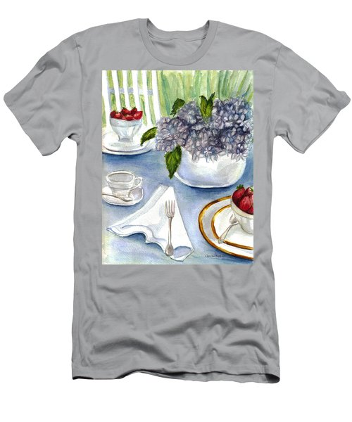 Men's T-Shirt (Slim Fit) featuring the painting Garden Tea Party by Clara Sue Beym