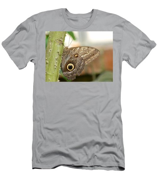 Men's T-Shirt (Slim Fit) featuring the photograph Giant Owl Butterfly by Lynn Bolt