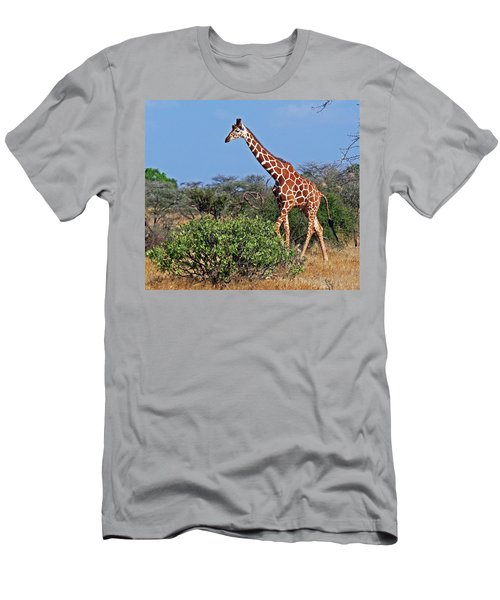 Giraffe Against Blue Sky Men's T-Shirt (Athletic Fit)