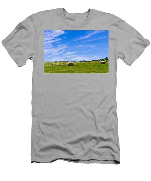 Hay Bales Under Brilliant Blue Sky Men's T-Shirt (Athletic Fit)