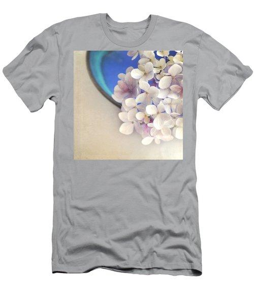 Hydrangeas In Blue Bowl Men's T-Shirt (Slim Fit) by Lyn Randle