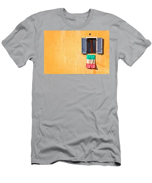Italian Flag Window And Yellow Wall Men's T-Shirt (Athletic Fit)