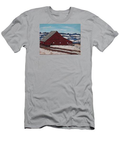 Men's T-Shirt (Slim Fit) featuring the painting Keystone Farm by Jeffrey Koss