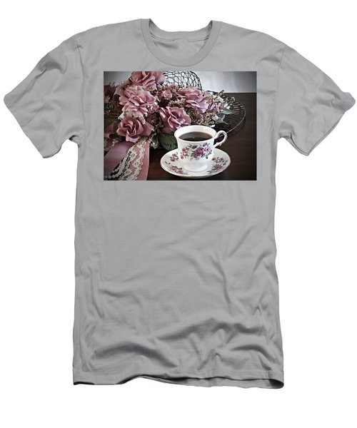Men's T-Shirt (Slim Fit) featuring the painting Ladies Tea Time by Sherry Hallemeier