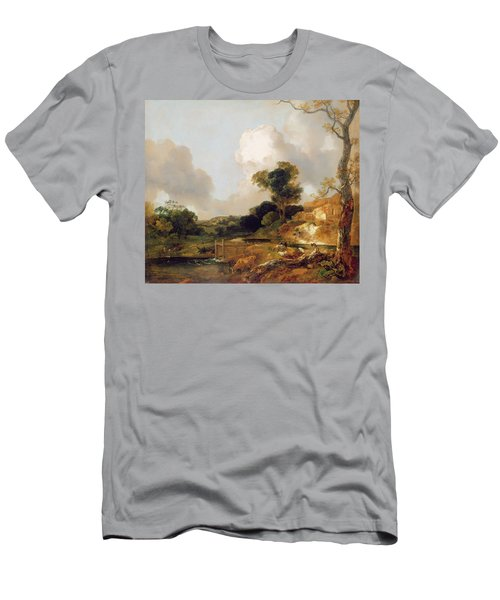 Landscape With Stream And Weir Men's T-Shirt (Athletic Fit)