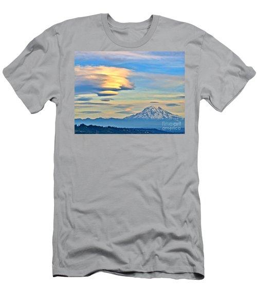 Lenticular Cloud And Mount Rainier Men's T-Shirt (Slim Fit) by Sean Griffin