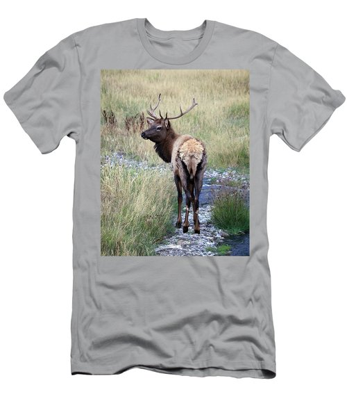Men's T-Shirt (Slim Fit) featuring the photograph Looking Back Bull by Steve McKinzie