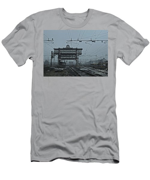 Men's T-Shirt (Slim Fit) featuring the photograph Milan Central Station Italy In The Fog by Andy Prendy