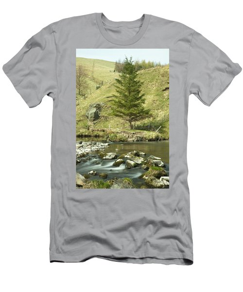 Men's T-Shirt (Slim Fit) featuring the photograph Northumberland, England A River Flowing by John Short