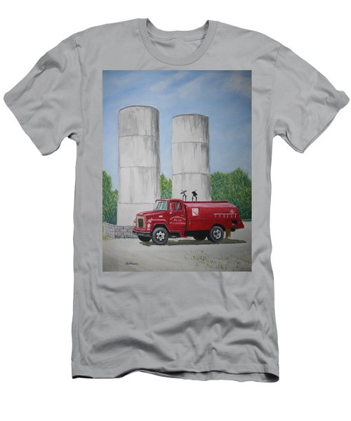 Men's T-Shirt (Slim Fit) featuring the painting Oil Truck by Stacy C Bottoms